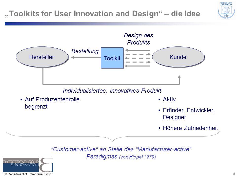 8 © Department of Entrepreneurship Design des Produkts Bestellung Individualisiertes, innovatives Produkt Toolkits for User Innovation and Design – di