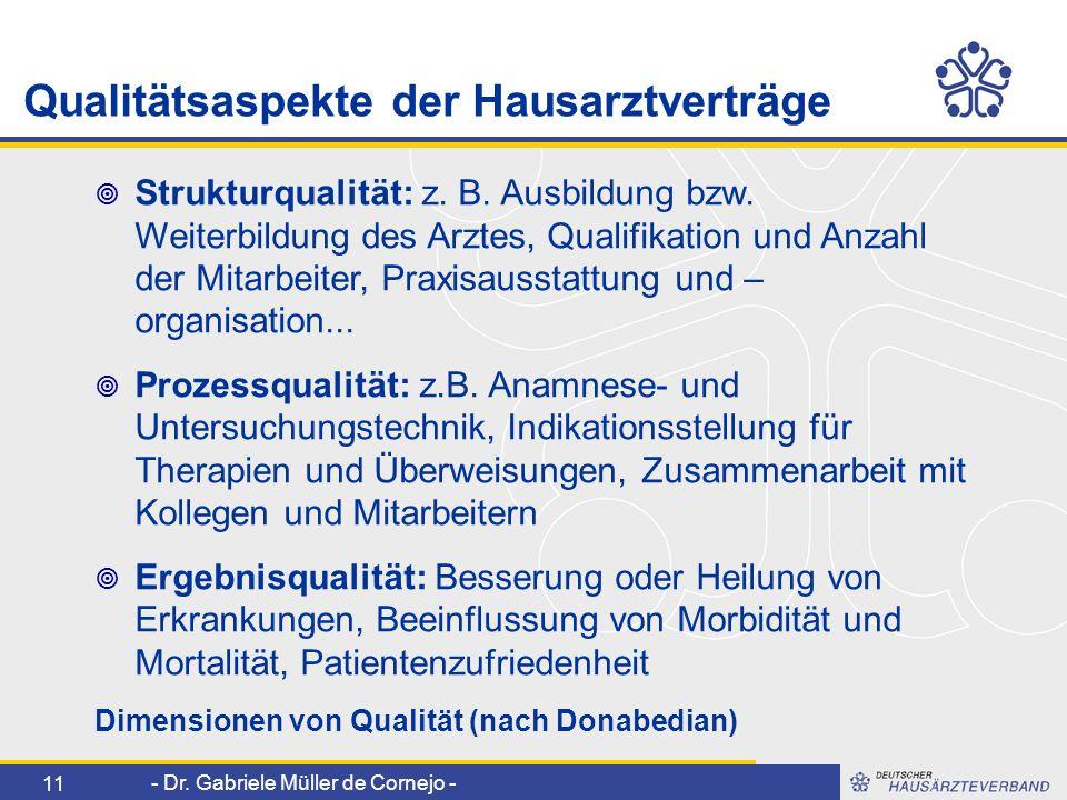 - Dr. Gabriele Müller de Cornejo - 11 Strukturqualität: z. B. Ausbildung bzw. Weiterbildung des Arztes, Qualifikation und Anzahl der Mitarbeiter, Prax