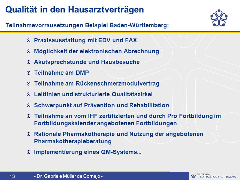 - Dr. Gabriele Müller de Cornejo - 13 Qualität in den Hausarztverträgen Teilnahmevorrausetzungen Beispiel Baden-Württemberg: Praxisausstattung mit EDV