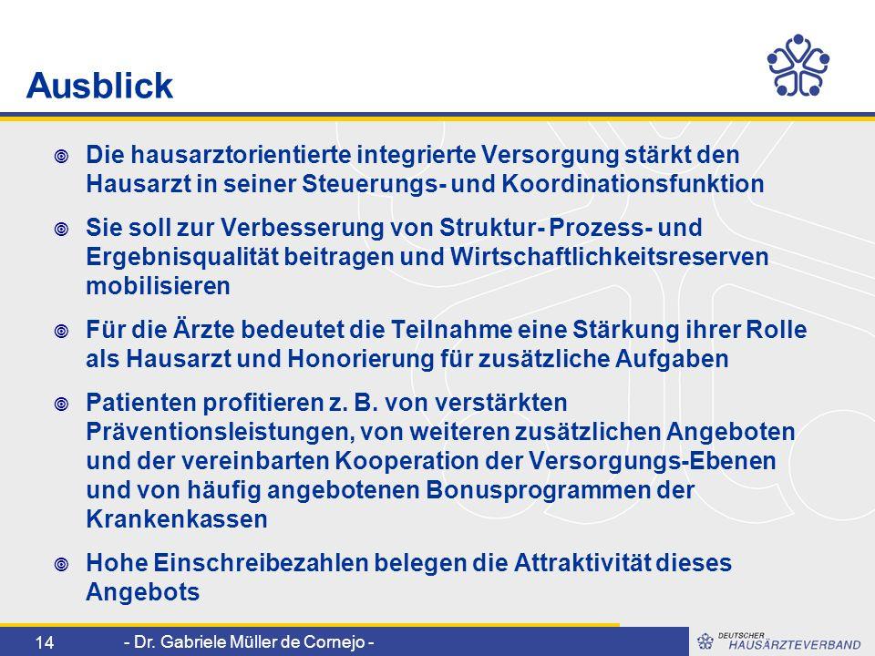- Dr. Gabriele Müller de Cornejo - 14 Ausblick Die hausarztorientierte integrierte Versorgung stärkt den Hausarzt in seiner Steuerungs- und Koordinati