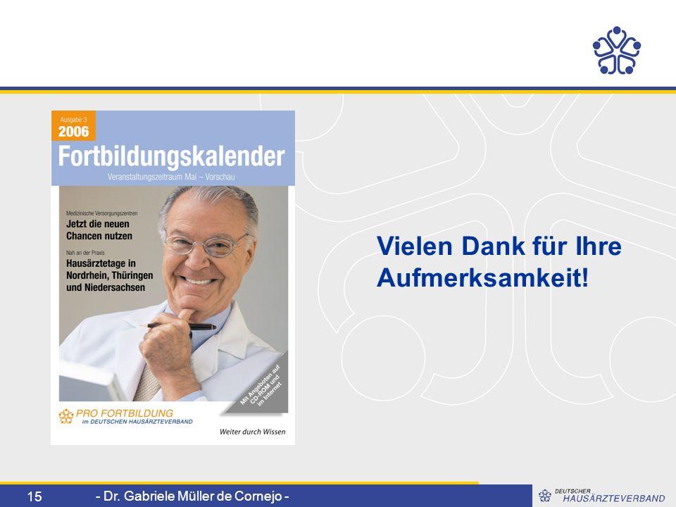 - Dr. Gabriele Müller de Cornejo - 15 Vielen Dank für Ihre Aufmerksamkeit!