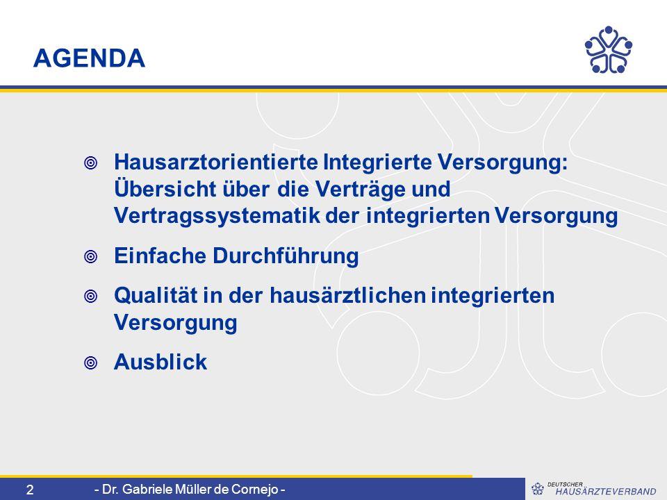 - Dr. Gabriele Müller de Cornejo - 2 AGENDA Hausarztorientierte Integrierte Versorgung: Übersicht über die Verträge und Vertragssystematik der integri