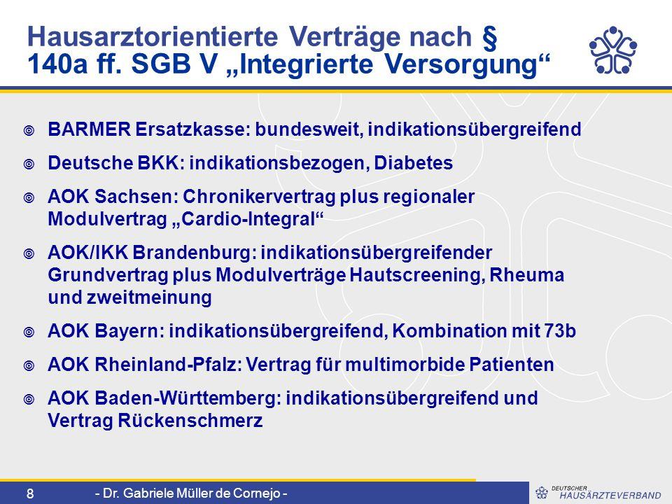 - Dr. Gabriele Müller de Cornejo - 8 BARMER Ersatzkasse: bundesweit, indikationsübergreifend Deutsche BKK: indikationsbezogen, Diabetes AOK Sachsen: C