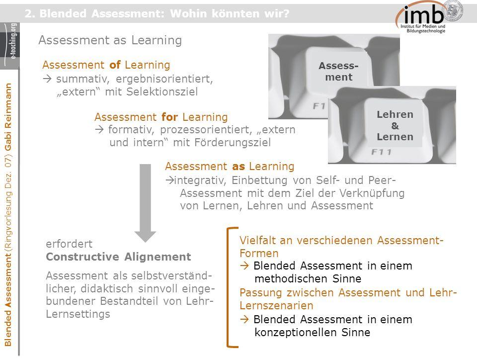 Blended Assessment (Ringvorlesung Dez. 07) Gabi Reinmann 2.