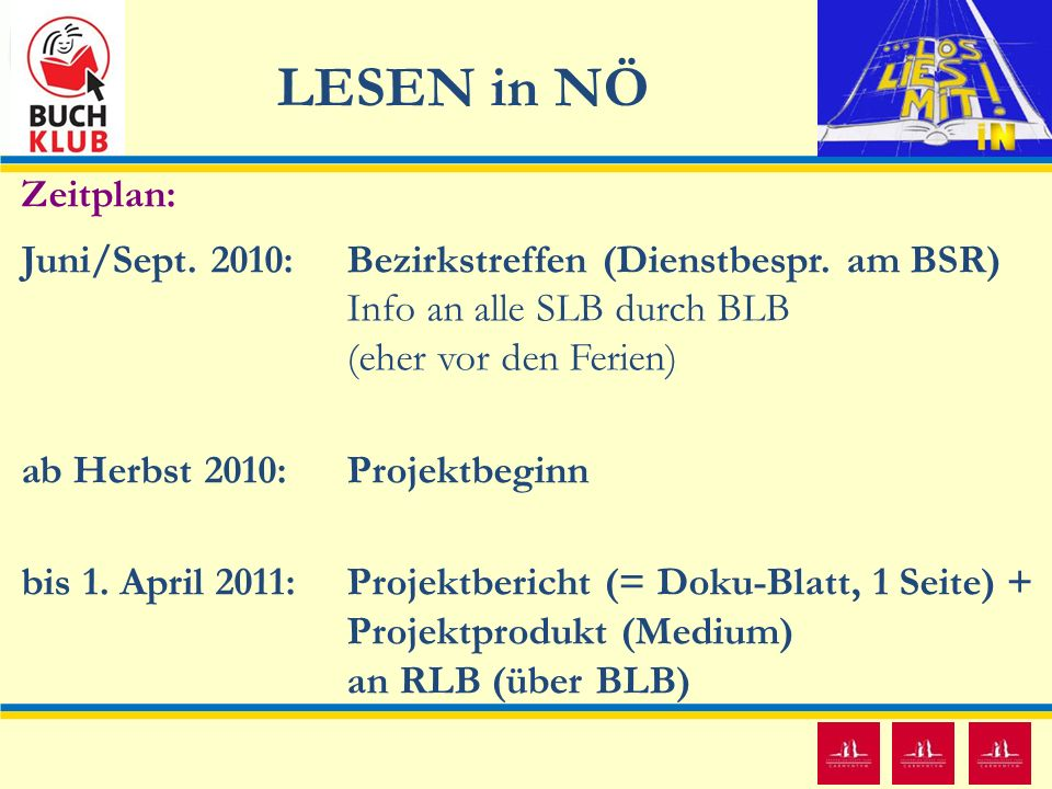 LESEN in NÖ 11 Zeitplan: Juni/Sept. 2010: Bezirkstreffen (Dienstbespr. am BSR) Info an alle SLB durch BLB (eher vor den Ferien) ab Herbst 2010: Projek