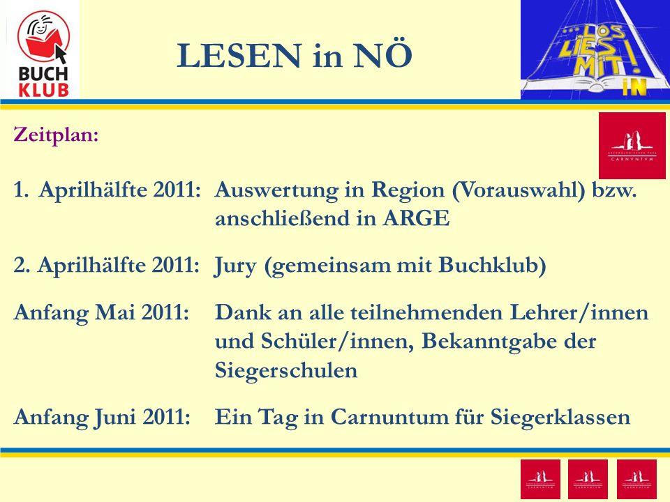LESEN in NÖ 12 Zeitplan: 1.Aprilhälfte 2011: Auswertung in Region (Vorauswahl) bzw. anschließend in ARGE 2. Aprilhälfte 2011: Jury (gemeinsam mit Buch