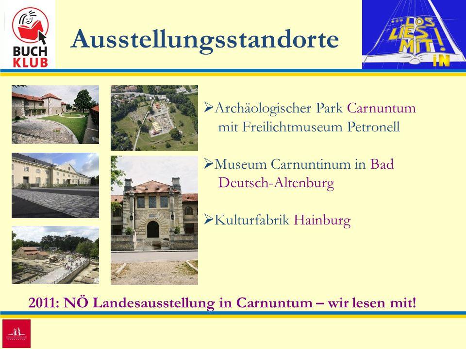 Ausstellungsstandorte 2011: NÖ Landesausstellung in Carnuntum – wir lesen mit! Archäologischer Park Carnuntum mit Freilichtmuseum Petronell Museum Car