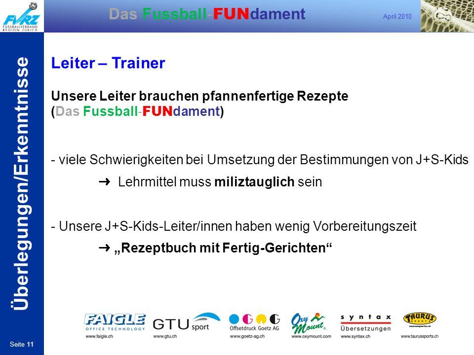 April 2010 Seite 11 Das Fussball- FUN dament Leiter – Trainer Überlegungen/Erkenntnisse Unsere Leiter brauchen pfannenfertige Rezepte (Das Fussball- F