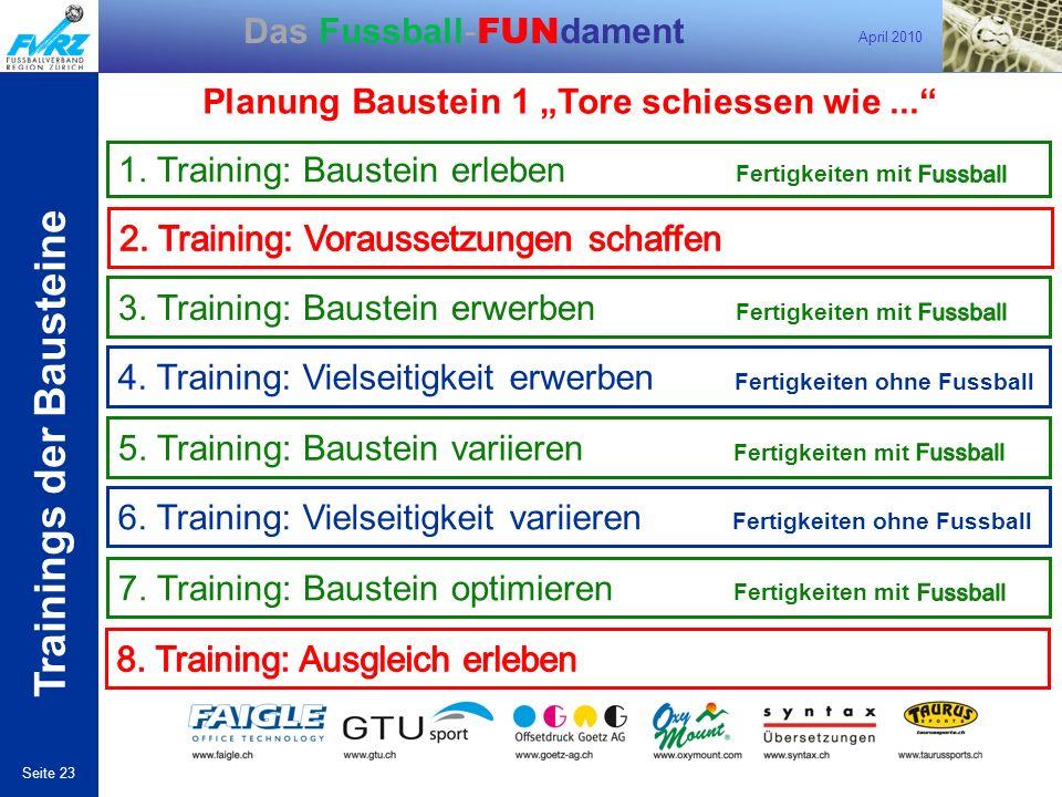 April 2010 Seite 23 Das Fussball- FUN dament Trainings der Bausteine Planung Baustein 1 Tore schiessen wie... 4. Training: Vielseitigkeit erwerben Fer