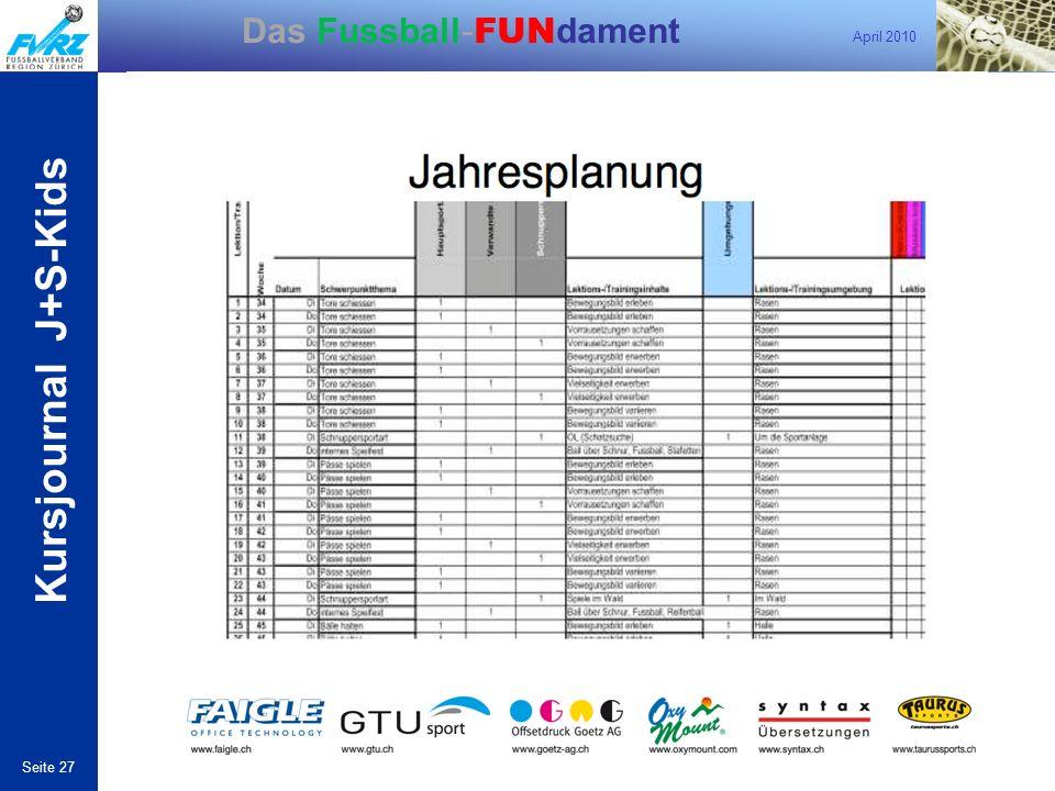 April 2010 Seite 27 Das Fussball- FUN dament Kursjournal J+S-Kids Kursjounal von Raphi