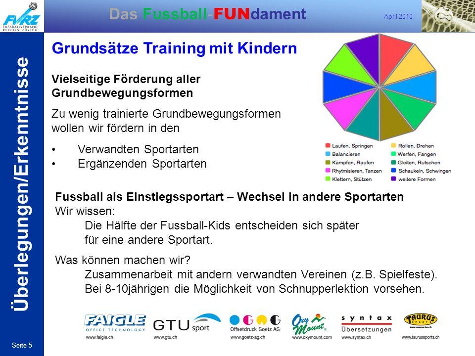 April 2010 Seite 5 Das Fussball- FUN dament Grundsätze Training mit Kindern Vielseitige Förderung aller Grundbewegungsformen Zu wenig trainierte Grund