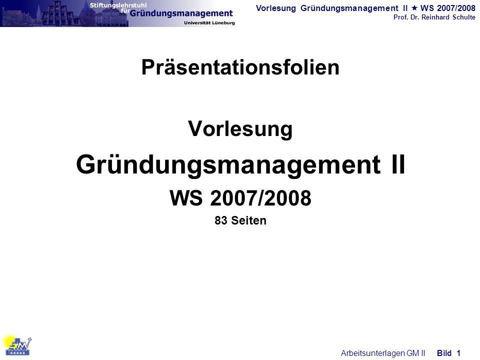 Vorlesung Gründungsmanagement II WS 2007/2008 Prof. Dr. Reinhard Schulte Arbeitsunterlagen GM IIBild 1 Präsentationsfolien Vorlesung Gründungsmanageme