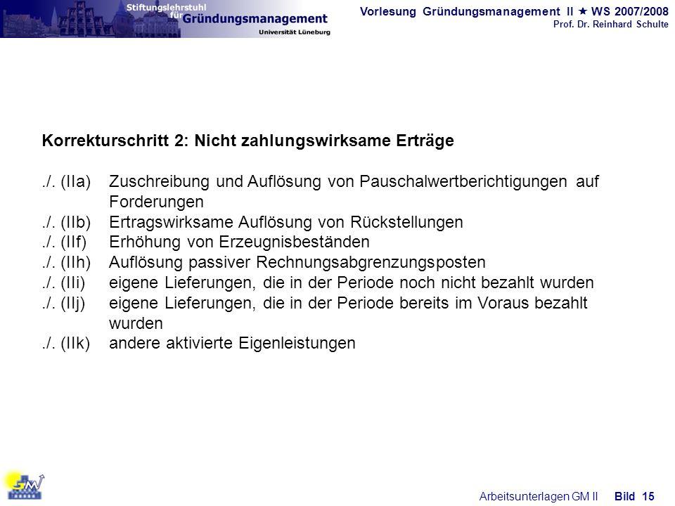 Vorlesung Gründungsmanagement II WS 2007/2008 Prof. Dr. Reinhard Schulte Arbeitsunterlagen GM IIBild 15 Korrekturschritt 2: Nicht zahlungswirksame Ert