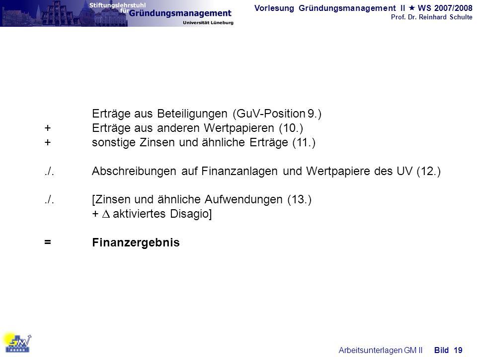 Vorlesung Gründungsmanagement II WS 2007/2008 Prof. Dr. Reinhard Schulte Arbeitsunterlagen GM IIBild 19 Erträge aus Beteiligungen (GuV-Position 9.) +E