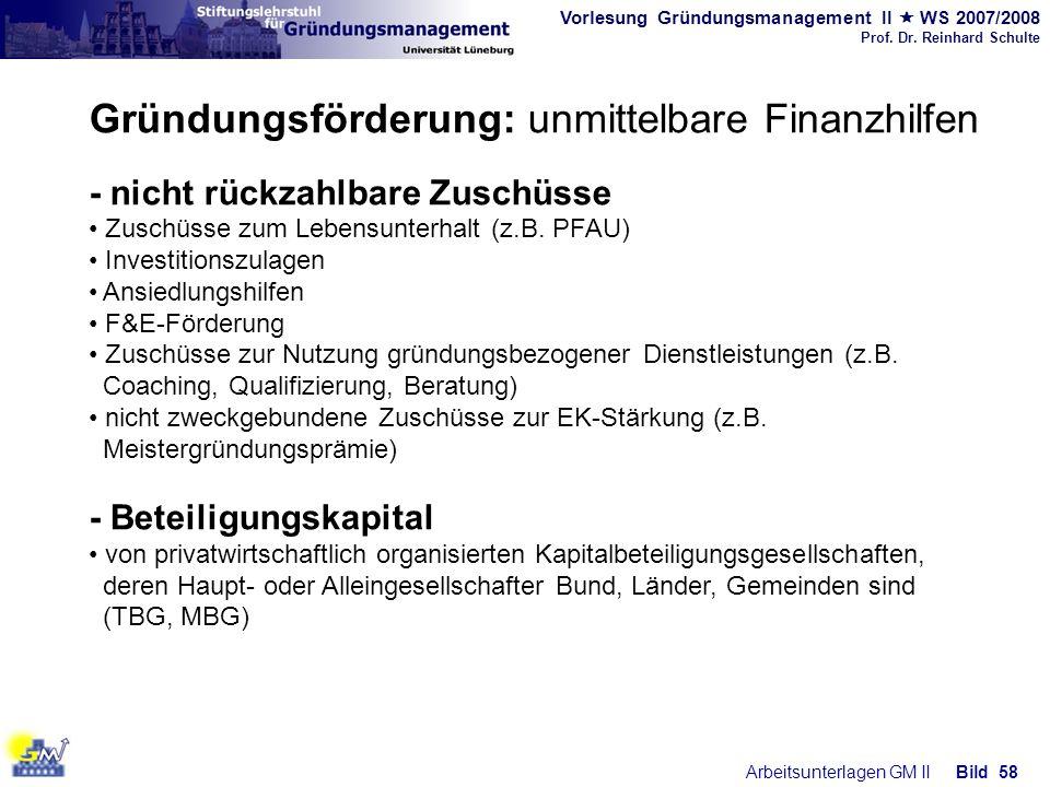 Vorlesung Gründungsmanagement II WS 2007/2008 Prof. Dr. Reinhard Schulte Arbeitsunterlagen GM IIBild 58 Gründungsförderung: unmittelbare Finanzhilfen