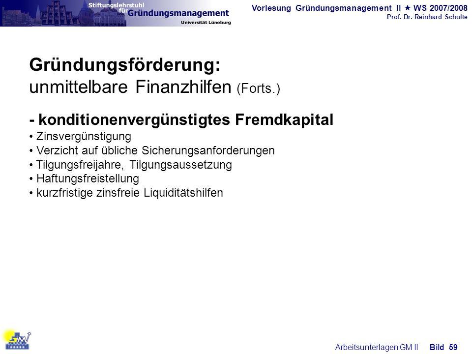 Vorlesung Gründungsmanagement II WS 2007/2008 Prof. Dr. Reinhard Schulte Arbeitsunterlagen GM IIBild 59 Gründungsförderung: unmittelbare Finanzhilfen