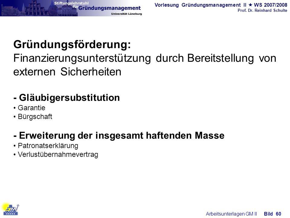 Vorlesung Gründungsmanagement II WS 2007/2008 Prof. Dr. Reinhard Schulte Arbeitsunterlagen GM IIBild 60 Gründungsförderung: Finanzierungsunterstützung