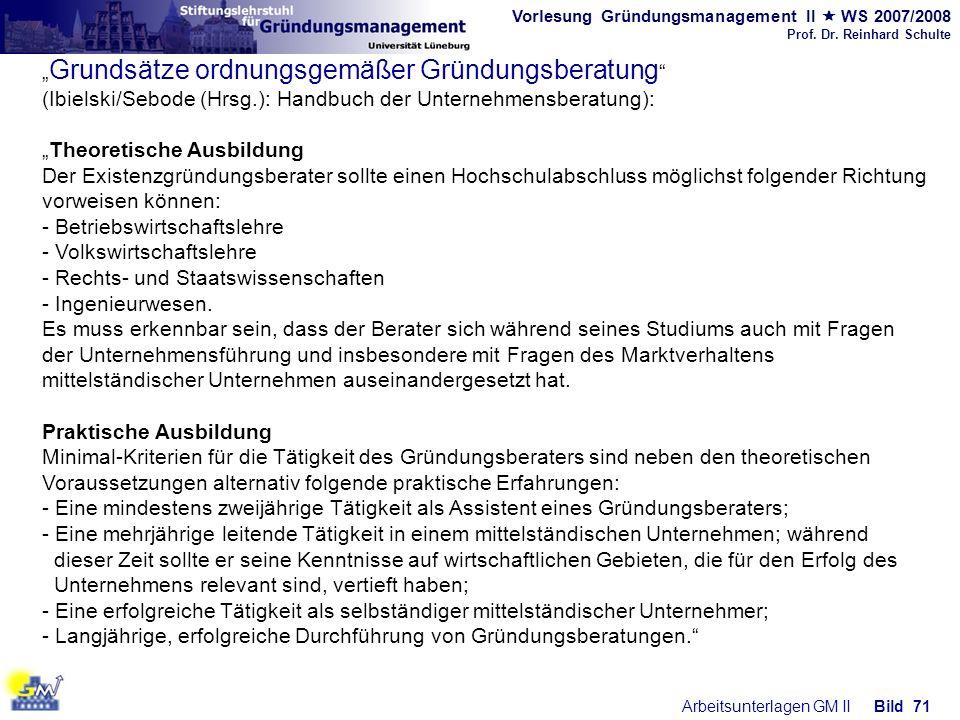Vorlesung Gründungsmanagement II WS 2007/2008 Prof. Dr. Reinhard Schulte Arbeitsunterlagen GM IIBild 71 Grundsätze ordnungsgemäßer Gründungsberatung (