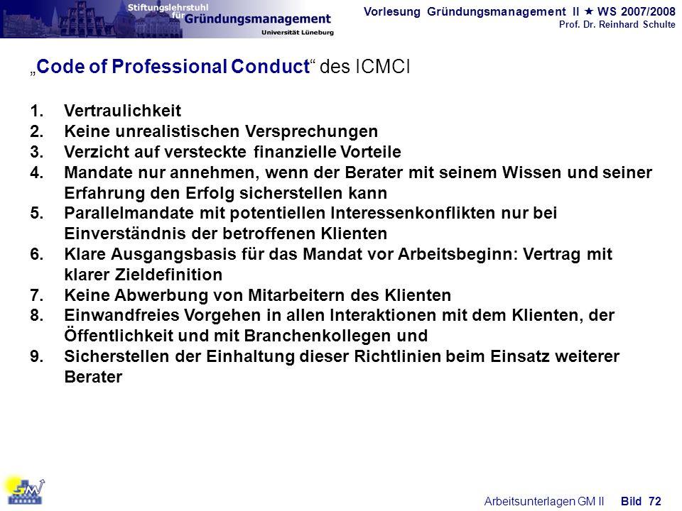 Vorlesung Gründungsmanagement II WS 2007/2008 Prof. Dr. Reinhard Schulte Arbeitsunterlagen GM IIBild 72 Code of Professional Conduct des ICMCI 1.Vertr