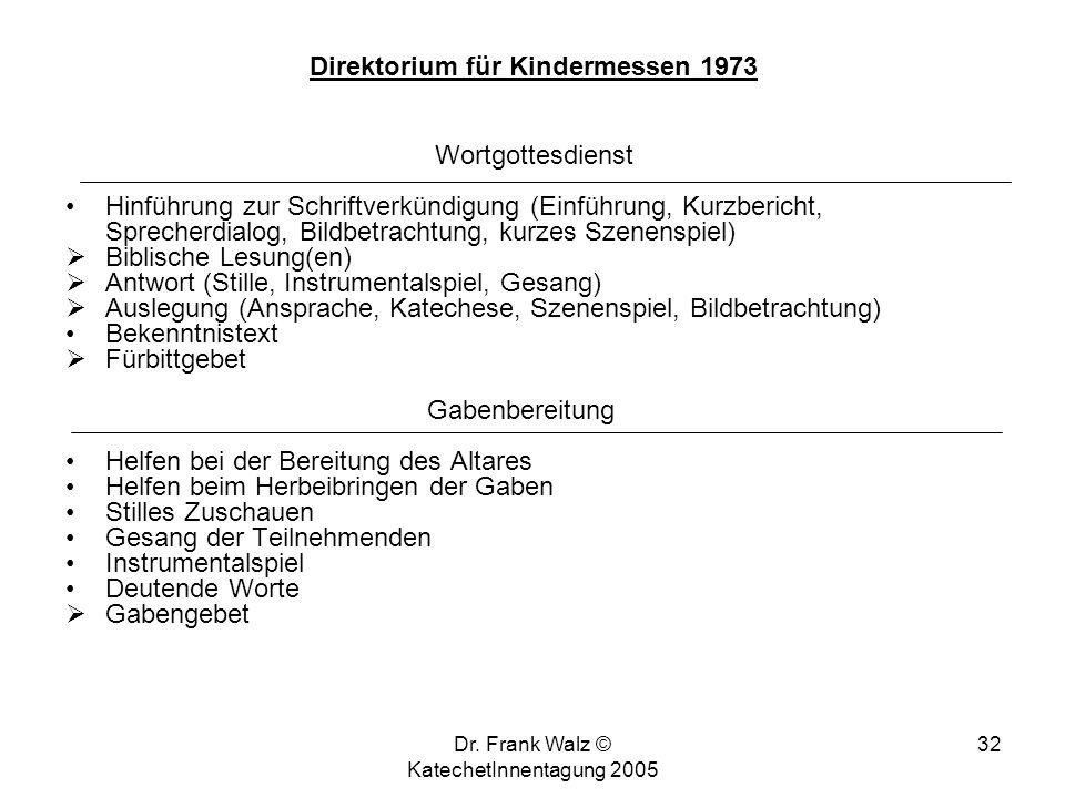 Dr. Frank Walz © KatechetInnentagung 2005 31 Gesang der Teilnehmenden Instrumentalspiel (Orgel, Instrumente) Begrüßung (Priester, evtl. Teilnehmende u