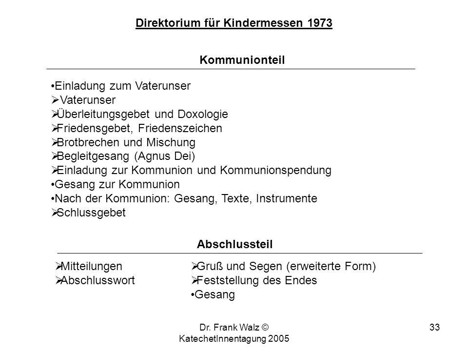 Dr. Frank Walz © KatechetInnentagung 2005 32 Direktorium für Kindermessen 1973 Wortgottesdienst Hinführung zur Schriftverkündigung (Einführung, Kurzbe