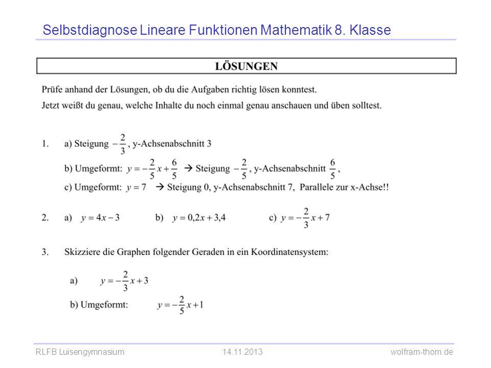 RLFB Luisengymnasium14.11.2013 wolfram-thom.de Selbstdiagnose Lineare Funktionen Mathematik 8.