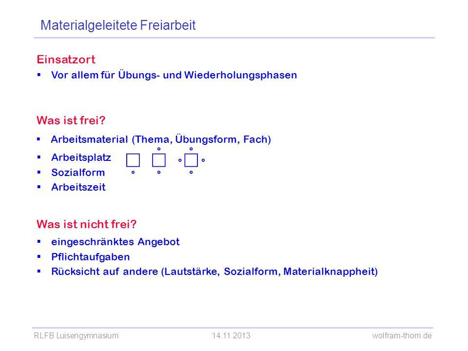 RLFB Luisengymnasium14.11.2013 wolfram-thom.de Einsatzort Vor allem für Übungs- und Wiederholungsphasen Was ist frei.