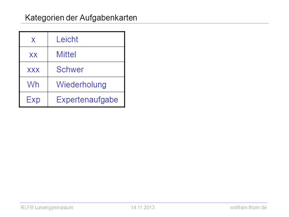 RLFB Luisengymnasium14.11.2013 wolfram-thom.de Kategorien der Aufgabenkarten xLeicht xxMittel xxxSchwer WhWiederholung ExpExpertenaufgabe