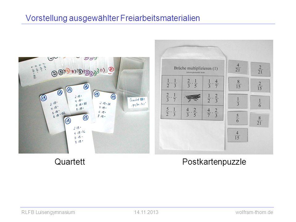 RLFB Luisengymnasium14.11.2013 wolfram-thom.de Vorstellung ausgewählter Freiarbeitsmaterialien QuartettPostkartenpuzzle