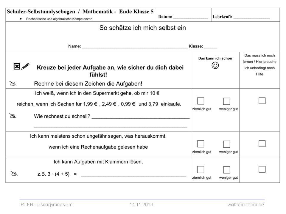 RLFB Luisengymnasium14.11.2013 wolfram-thom.de Selbsteinschätzungsbogen Mathematik 5. Klasse