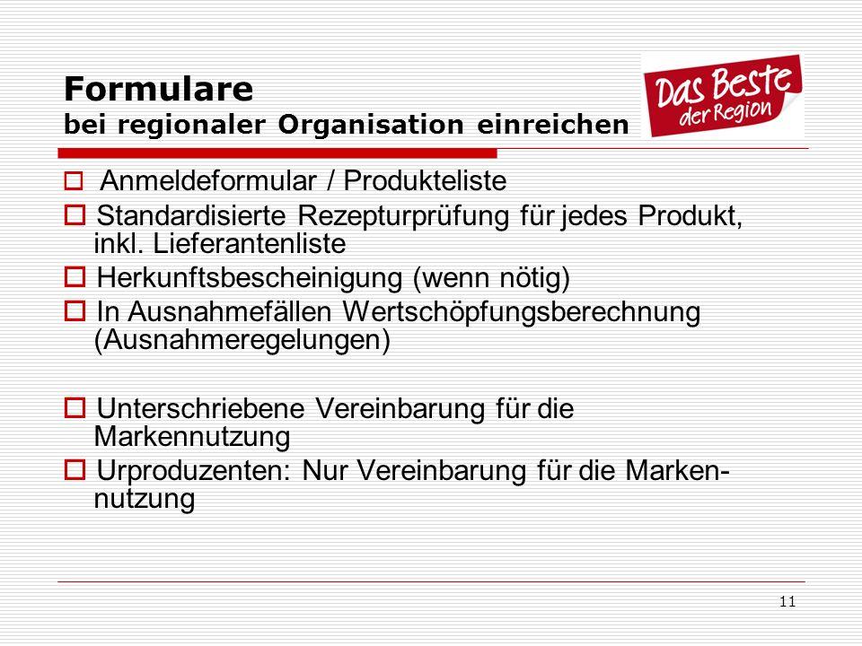 11 Formulare bei regionaler Organisation einreichen Anmeldeformular / Produkteliste Standardisierte Rezepturprüfung für jedes Produkt, inkl. Lieferant