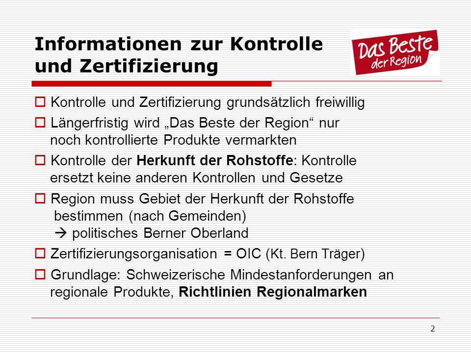 2 Informationen zur Kontrolle und Zertifizierung Kontrolle und Zertifizierung grundsätzlich freiwillig Längerfristig wird Das Beste der Region nur noc
