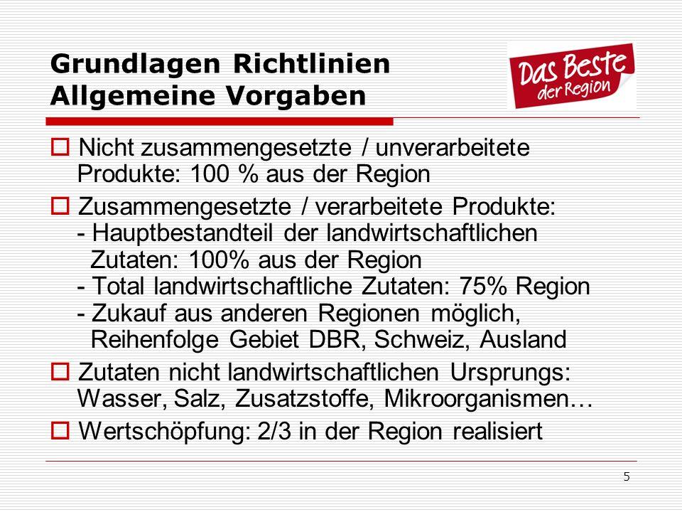 5 Grundlagen Richtlinien Allgemeine Vorgaben Nicht zusammengesetzte / unverarbeitete Produkte: 100 % aus der Region Zusammengesetzte / verarbeitete Pr