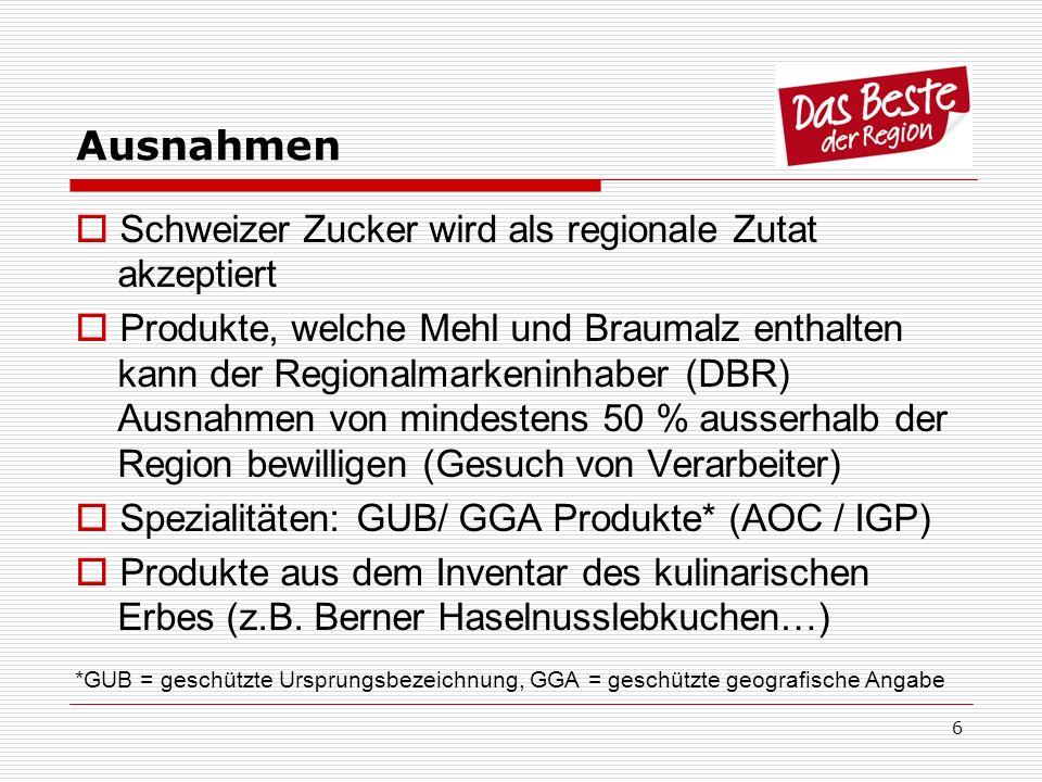 6 Ausnahmen Schweizer Zucker wird als regionale Zutat akzeptiert Produkte, welche Mehl und Braumalz enthalten kann der Regionalmarkeninhaber (DBR) Aus