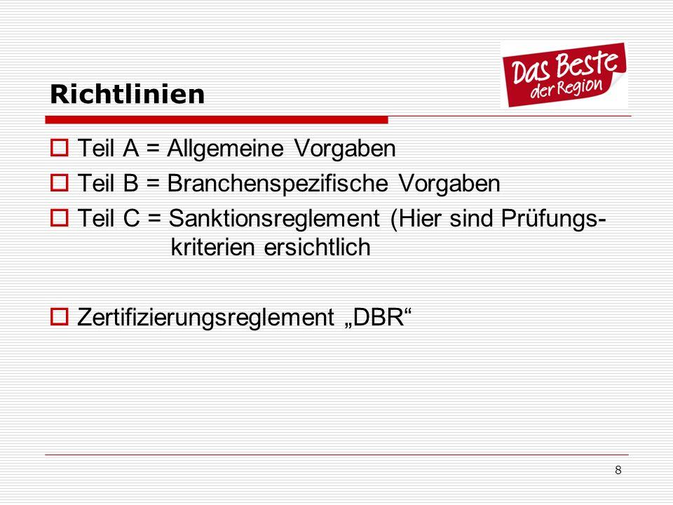 8 Richtlinien Teil A = Allgemeine Vorgaben Teil B = Branchenspezifische Vorgaben Teil C = Sanktionsreglement (Hier sind Prüfungs- kriterien ersichtlic