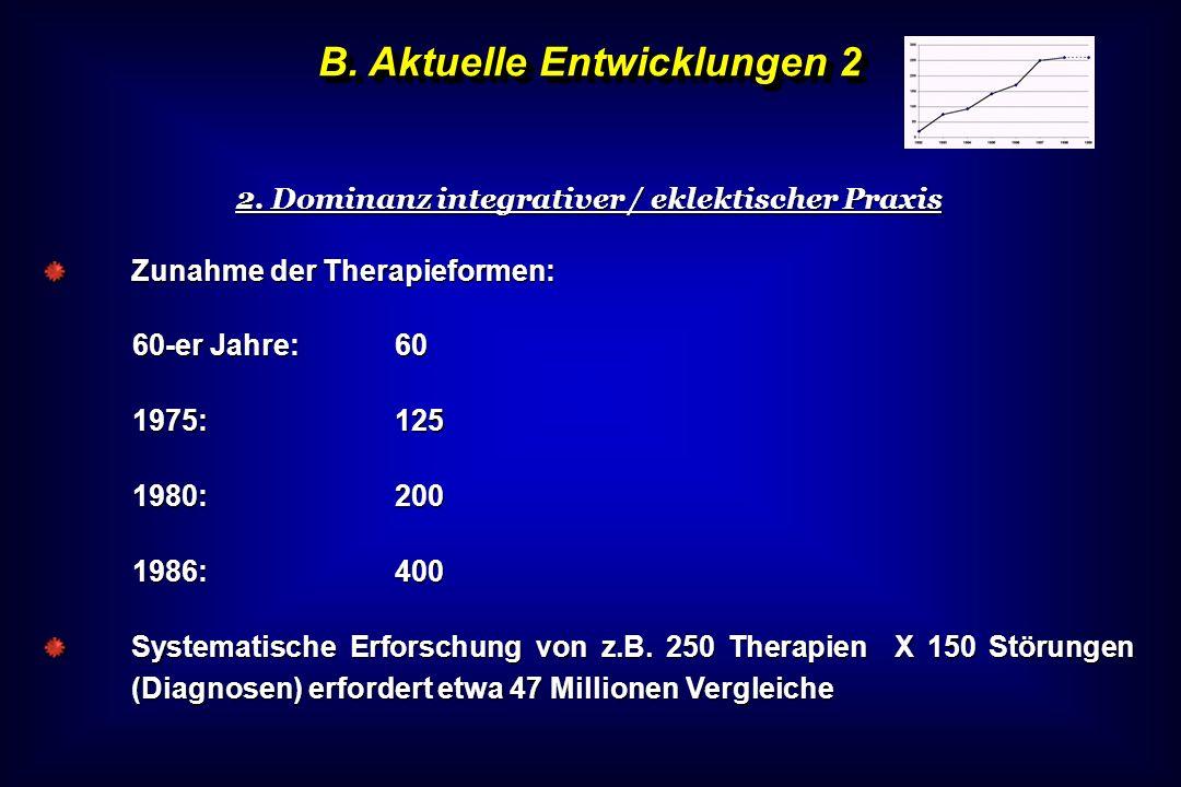B. Aktuelle Entwicklungen 2 2. Dominanz integrativer / eklektischer Praxis Zunahme der Therapieformen: 60-er Jahre:60 1975:125 1980:200 1986:400 Syste