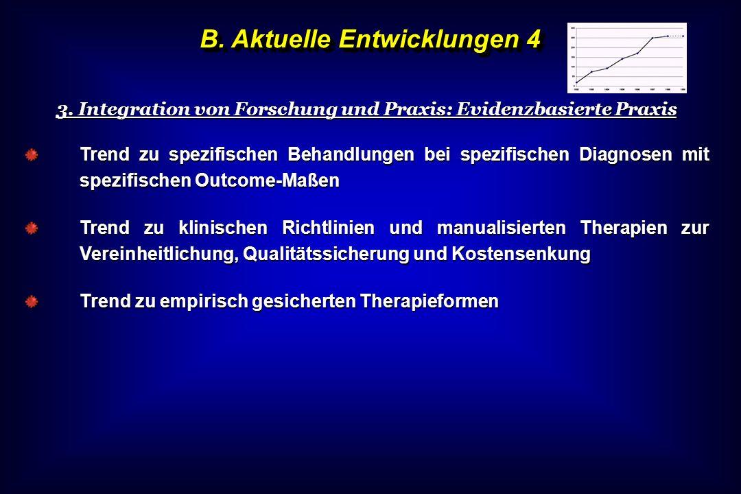 B. Aktuelle Entwicklungen 4 3. Integration von Forschung und Praxis: Evidenzbasierte Praxis Trend zu spezifischen Behandlungen bei spezifischen Diagno