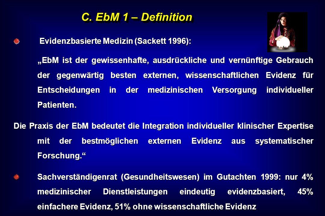 C. EbM 1 – Definition Evidenzbasierte Medizin (Sackett 1996): Evidenzbasierte Medizin (Sackett 1996): EbM ist der gewissenhafte, ausdrückliche und ver