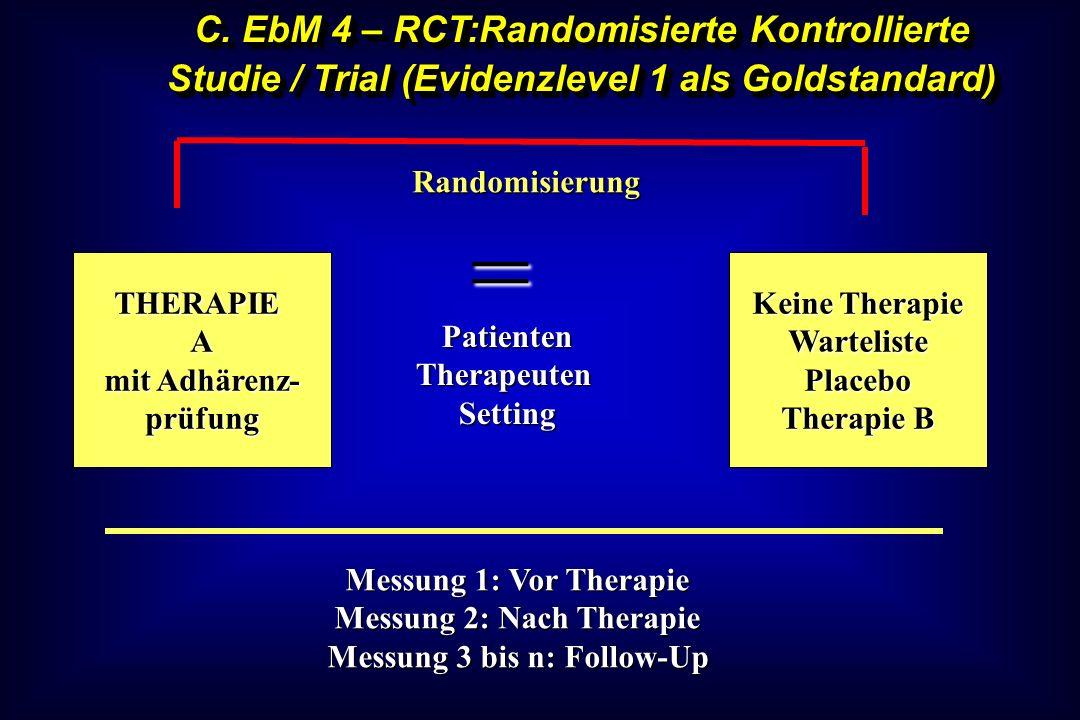C. EbM 4 – RCT:Randomisierte Kontrollierte Studie / Trial (Evidenzlevel 1 als Goldstandard) THERAPIEA mit Adhärenz- prüfung Keine Therapie WartelisteP
