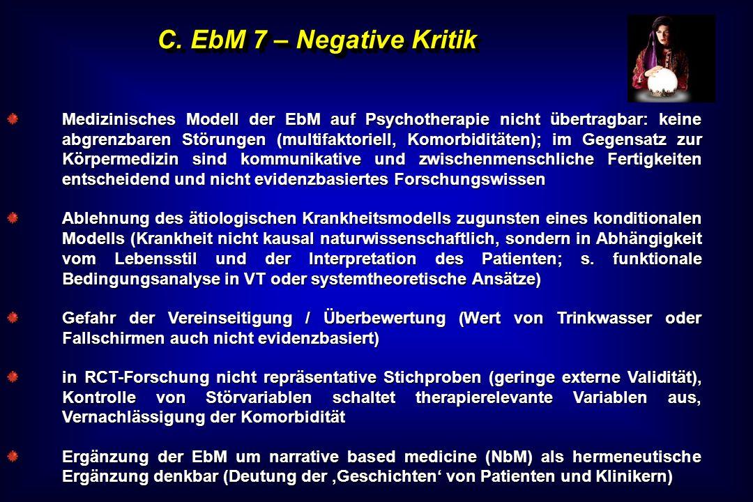 C. EbM 7 – Negative Kritik Medizinisches Modell der EbM auf Psychotherapie nicht übertragbar: keine abgrenzbaren Störungen (multifaktoriell, Komorbidi