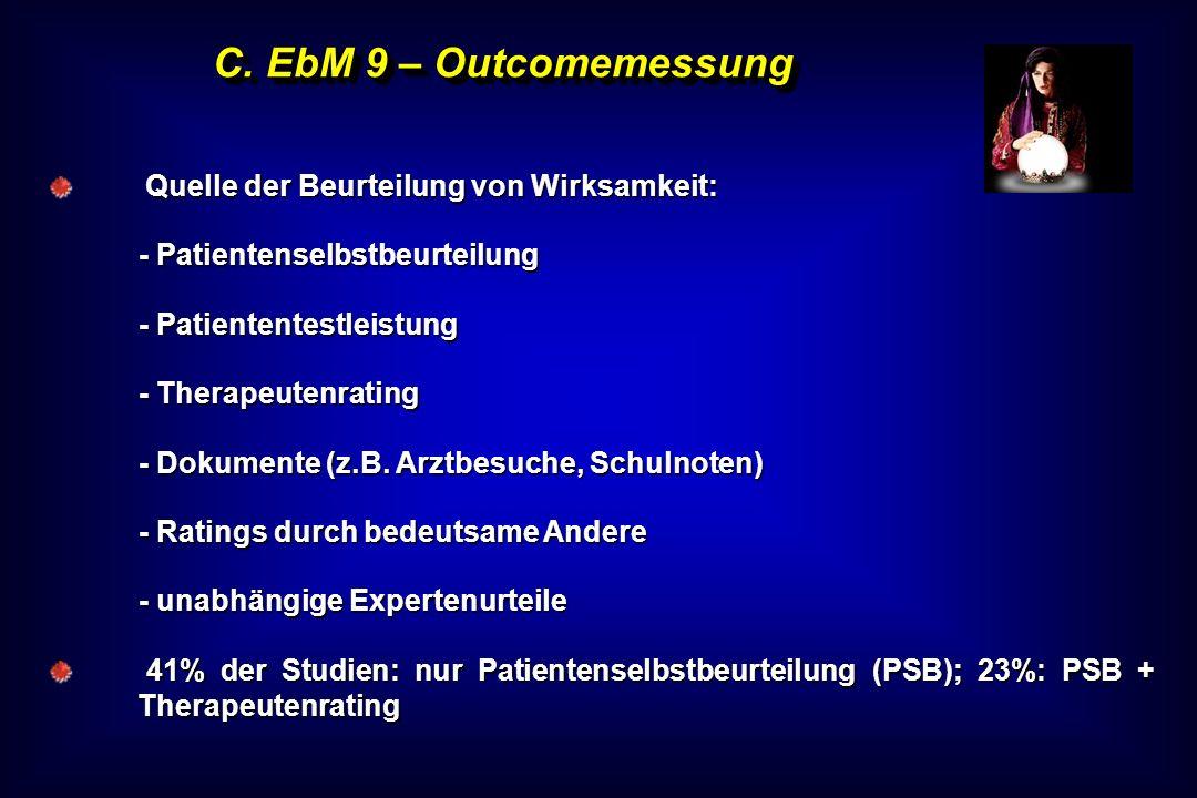 C. EbM 9 – Outcomemessung Quelle der Beurteilung von Wirksamkeit: Quelle der Beurteilung von Wirksamkeit: - Patientenselbstbeurteilung - Patiententest
