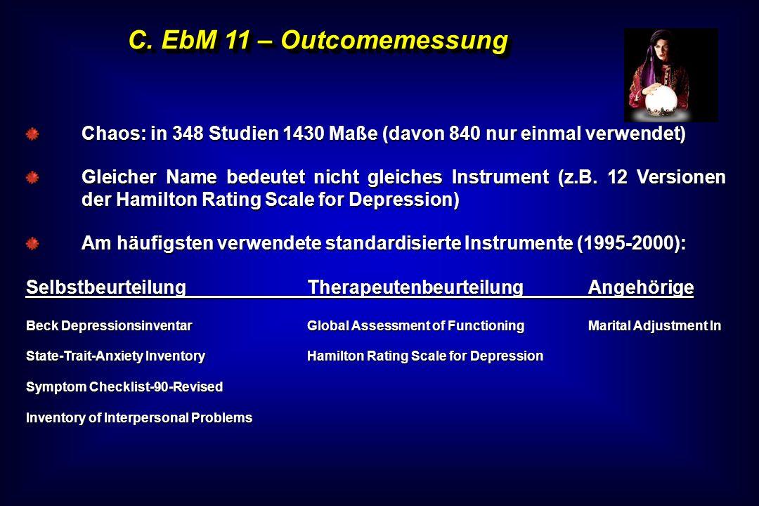 C. EbM 11 – Outcomemessung Chaos: in 348 Studien 1430 Maße (davon 840 nur einmal verwendet) Gleicher Name bedeutet nicht gleiches Instrument (z.B. 12