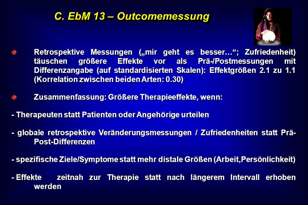 C. EbM 13 – Outcomemessung Retrospektive Messungen (mir geht es besser…; Zufriedenheit) täuschen größere Effekte vor als Prä-/Postmessungen mit Differ