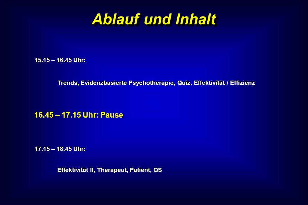 Ablauf und Inhalt 15.15 – 16.45 Uhr: Trends, Evidenzbasierte Psychotherapie, Quiz, Effektivität / Effizienz 16.45 – 17.15 Uhr: Pause 17.15 – 18.45 Uhr