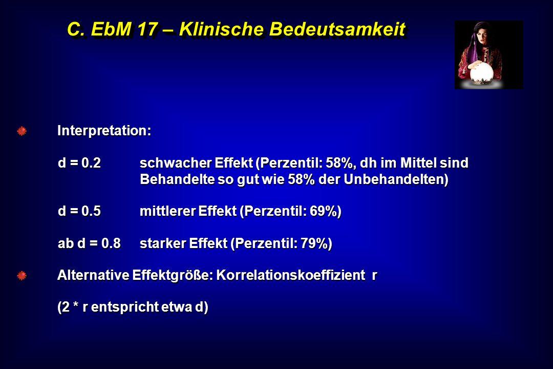 C. EbM 17 – Klinische Bedeutsamkeit Interpretation: d = 0.2schwacher Effekt (Perzentil: 58%, dh im Mittel sind Behandelte so gut wie 58% der Unbehande