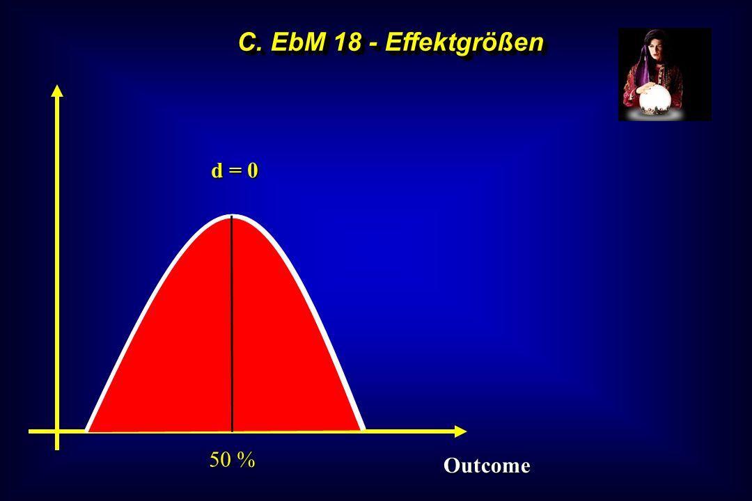 C. EbM 18 - Effektgrößen 50 % d = 0 Outcome