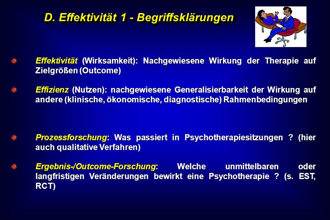 D. Effektivität 1 - Begriffsklärungen Effektivität (Wirksamkeit): Nachgewiesene Wirkung der Therapie auf Zielgrößen (Outcome) Effizienz (Nutzen): nach