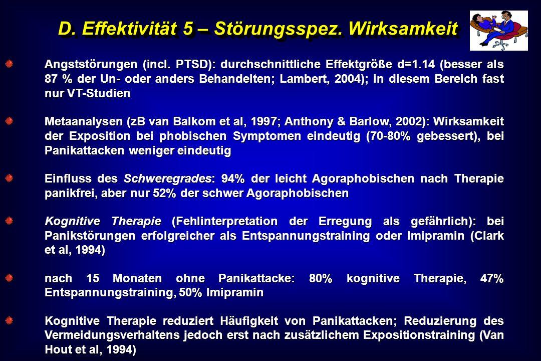 D. Effektivität 5 – Störungsspez. Wirksamkeit Angststörungen (incl. PTSD): durchschnittliche Effektgröße d=1.14 (besser als 87 % der Un- oder anders B
