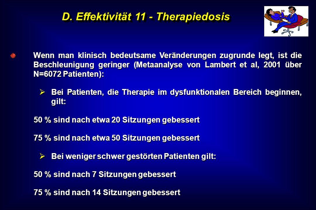 D. Effektivität 11 - Therapiedosis Wenn man klinisch bedeutsame Veränderungen zugrunde legt, ist die Beschleunigung geringer (Metaanalyse von Lambert