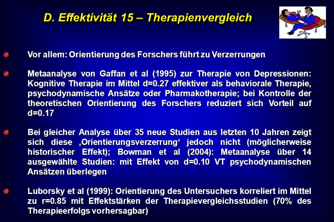 D. Effektivität 15 – Therapienvergleich Vor allem: Orientierung des Forschers führt zu Verzerrungen Metaanalyse von Gaffan et al (1995) zur Therapie v